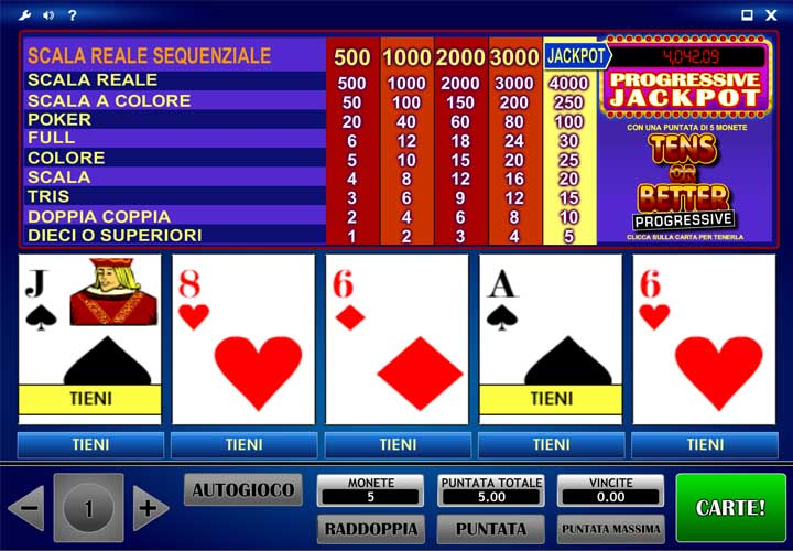 progressive video poker