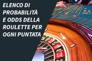Elenco di probabilità e odds della roulette per ogni puntata